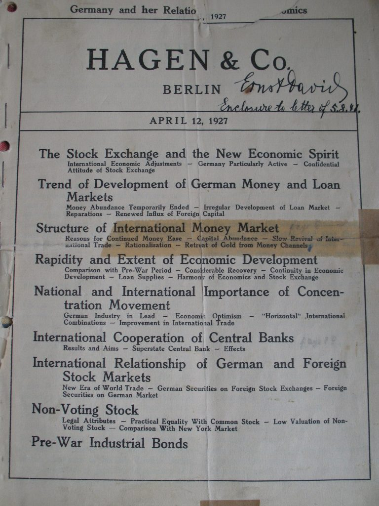 Publication by Hagen & Co. Berlin, Exposé on Germany and her Relations in Economics, April 12, 1927.