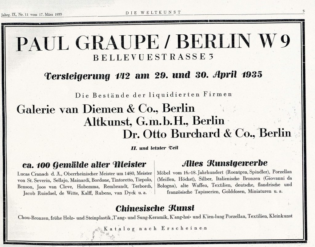 Advertisement for Auction at Paul Graupe Berlin, 1935.