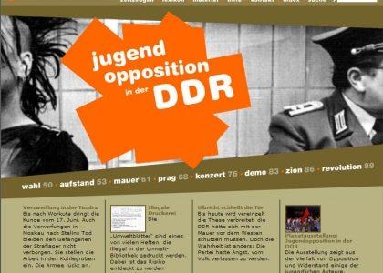 """Internetseite """"Jugendopposition in der DDR"""""""