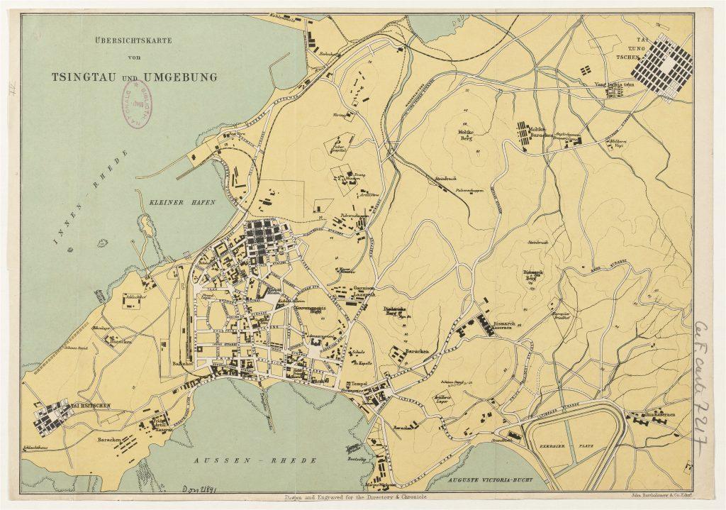 Karte von Tsingtau, 1905, Verleger John Bartholomew (Edinburgh).