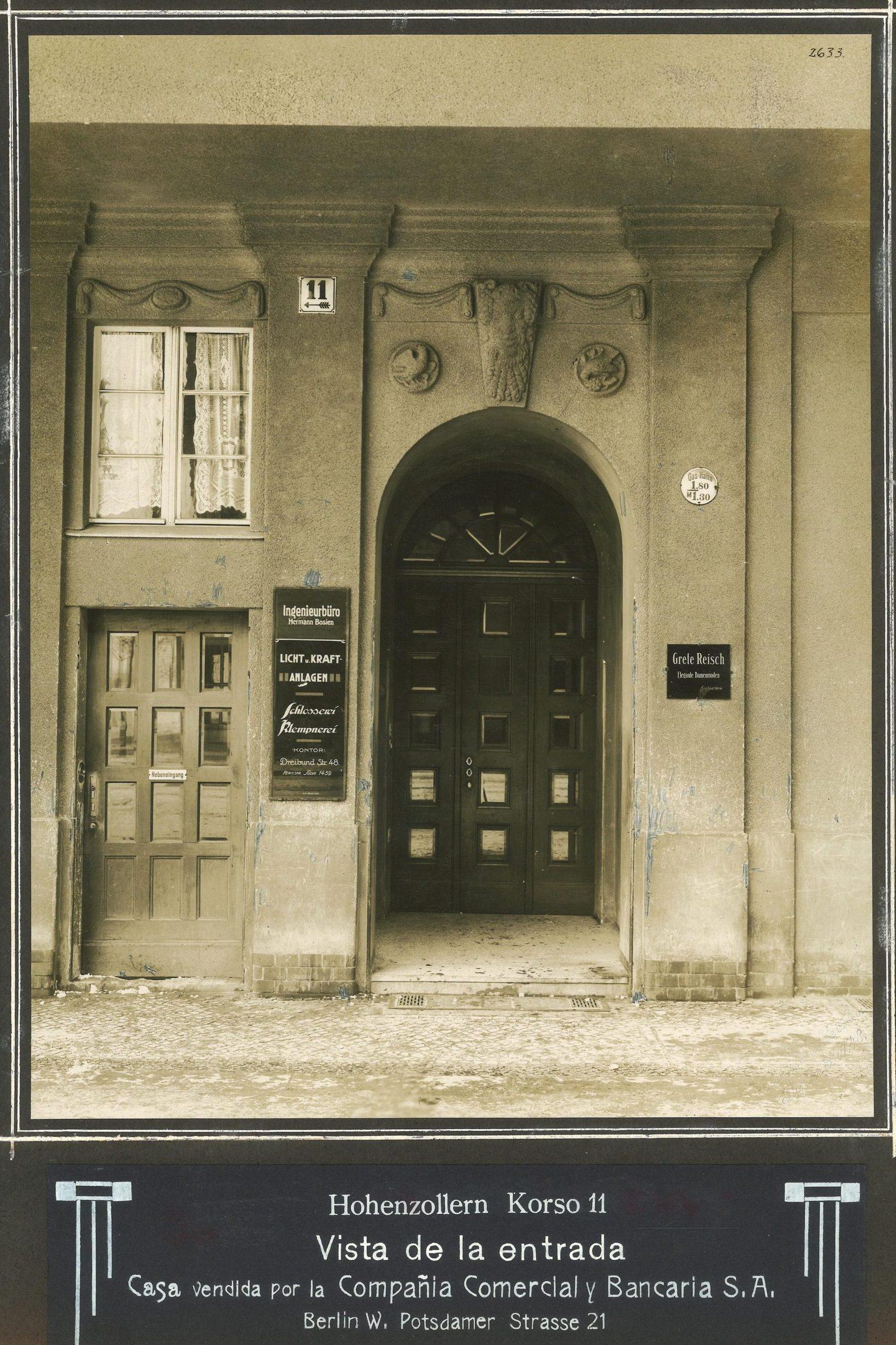 Building at Berlin, Hohenzollernkorso 11, now Manfred-von-Richthofenstrasse, undated