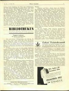 """Nachruf auf August Lederer im """"Wiener Salonblatt"""", 17. Mai 1936 © ANNO"""