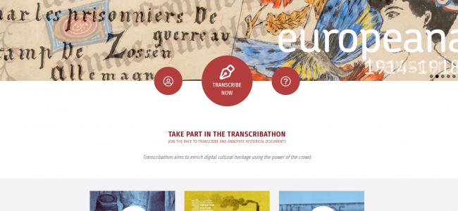 Screenshot Startseite Transcribathon.